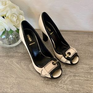 FENDI Canvas and Patent Leather Buckle Heel Pumps